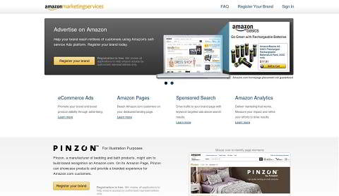 Screenshot: Amazon Marketing Services (US). (jetzt Werbekonsole, Advertising Console) Marketing Chancen: Amazon Pages (jetzt Amazon Stores). Quelle: Amazon.com