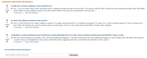 Screenshot: Amazon Produktbesprechung: Customer Questions & Answers (US). Quelle: Amazon.com