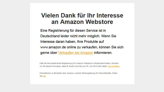 Screenshot: Amazon Webstore eingestellt (DE). Quelle: Webstore.amazon.de