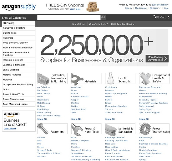 Screenshot: Amazon Supply (US). Quelle: Amazonsupply.com