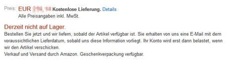 Derzeit nicht auf Lager. Quelle: Amazon.de