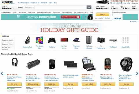 Screenshot: Amazon US, Electronics Holiday Gift Guide Quelle: www.amazon.com/giftguide