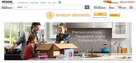 Screenshot: Amazon Elements: Premium products. Quelle: Amazon.com