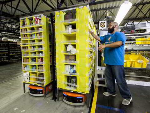 Amazon Fulfillment Center: Employee picking with Kiva. Quelle: Amazon.com