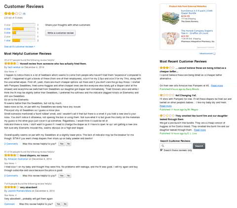 Screenshot (05.12.2014): Amazon Elements Windeln, Customer Reviews, Quelle: Amazon US, (Produktdetailsite nicht mehr erreichbar)