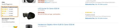 Amazon Produkt-Bewertungen, Durchschn. Kundenrezension (SERP). Quelle: Amazon.de