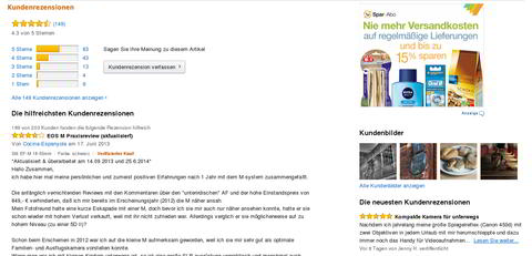 Screenshot: Amazon Kundenbewertungen. Quelle: Amazon.de