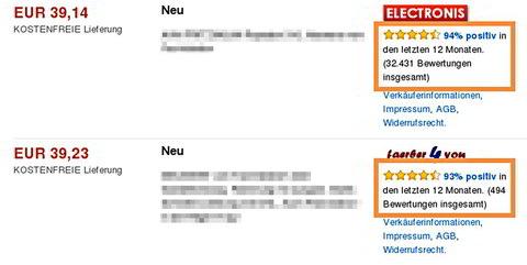 Amazon Marketplace. Verkäufer-Feedback Performance. Quelle: Amazon.de