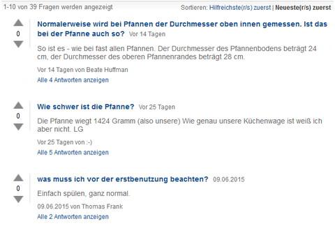 Wertvolle Daten aus Marketplaces. Amazon: Fragen und Antworten. Quelle: Amazon.de