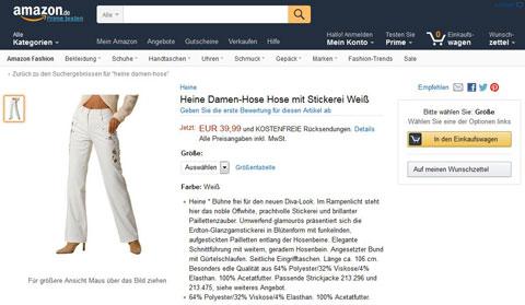 Amazon Produktbeschreibungen: Heine. Quelle: Amazon.de