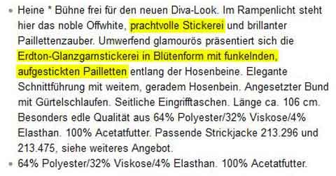 Amazon Produktbeschreibungen: Heine, Produktmerkmale. Quelle: Amazon.de