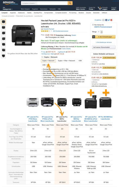 Hewlett Packard, Variationen vs. A+ Inhalt. Quelle: Amazon.de