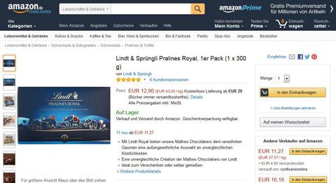 Amazon Produktbeschreibungen: Lindt & Sprüngli. Quelle: Amazon.de
