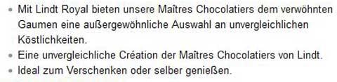 Amazon Produktbeschreibungen: Lindt & Sprüngli, Produktmerkmale. Quelle: Amazon.de