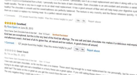 Markenaufbau mit Amazon? KIND product detail page, reviews. Quelle: Amazon.com