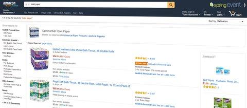 Amazon SERP toilet paper. Quelle: Amazon.com
