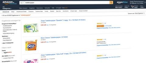 Amazon SERP tolilettenpapier. Quelle: Amazon.de
