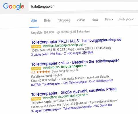 Google SERP tolilettenpapier. Quelle: Google.de