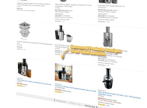 SERP Galerieansicht, Sponsored Products Anzeigen für den Suchbegriff: [entsafter].