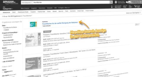 SERP Listenansicht, Headline Search Anzeige für den Suchbegriff: [feuchtücher].