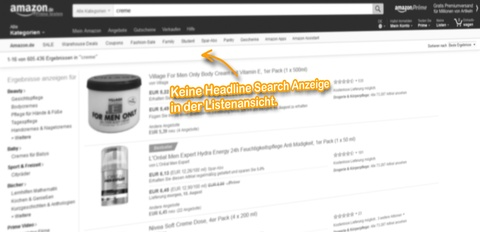 SERP Listenansicht, keine Headline Search Anzeige für den Suchbegriff: [creme].