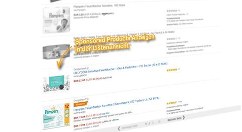 SERP Listenansicht, Sponsored Products Anzeigen für den Suchbegriff: [feuchttücher].
