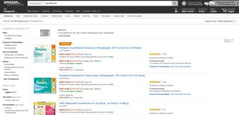 Amazon Ranking: SERP Listenansicht