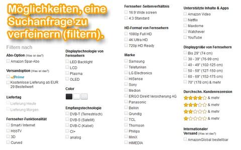 Verfeinerungen, verfügbar für den Suchbegriff: [smart tv].