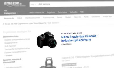 Amazon Marketing Services (jetzt Amazon Advertising): Headline Search Ad, Suchbegriff [dslr kamera] (Desktop). Quelle: Amazon.de