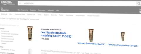 Headline Search Ad, Suchbegriff [sonnencreme]. Quelle: Amazon.de