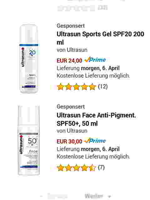 Amazon Marketing Services (jetzt Amazon Advertising): Sponsored Products Ad, Suchbegriff [sonnencreme] (Mobile). Quelle: Amazon.de