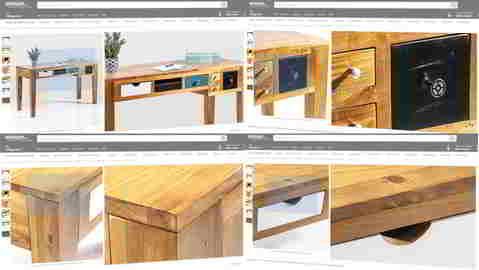 Amazon Produktbilder: Schreibtisch: Detailverliebtes Einkaufserlebnis. Quelle: Amazon.de