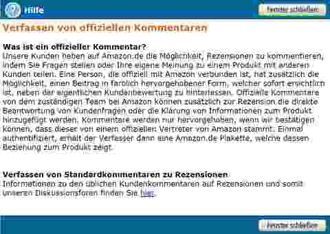Amazon Programm: Offizieller Kommentar. Quelle: Amazon.de