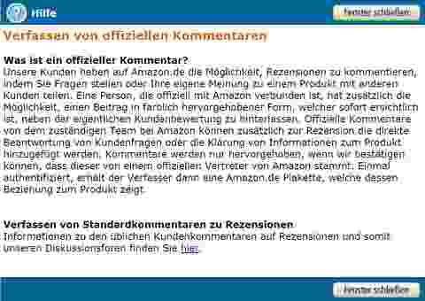 Amazon-Programm: Offizieller Kommentar. Quelle: Amazon.de
