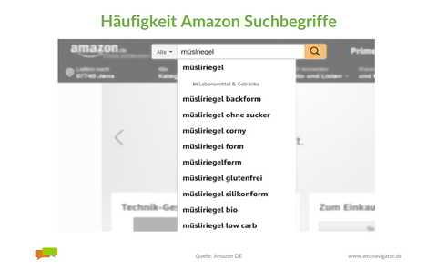 Frequenz Amazon Suchbegriffe: Amazon Suchleiste.