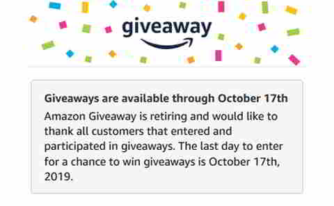 Amazon Giveaway eingestellt, Quelle: amazon.com