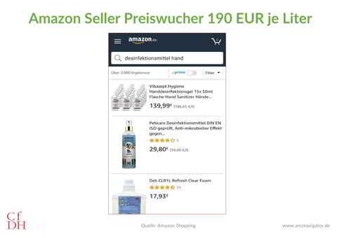 Amazon Seller Preistreiberei Wucher Desinfektionsmittel